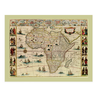 Vintage 1660's Africa Map by Willem Janszoon Blaeu Postcard