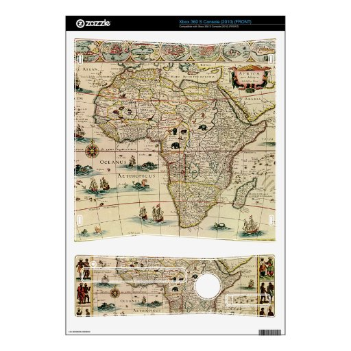 Vintage 1660's Africa Map by Willem Janszoon Blaeu Skins For The Xbox 360 S
