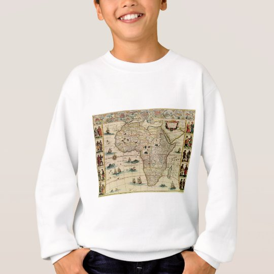 Vintage 1660's Africa Map by Willem Janszoon Blaeu Sweatshirt