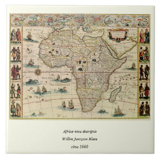 Vintage 1660's Africa Map by Willem Janszoon Blaeu Tile