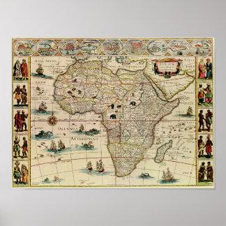 Vintage 1660's Africa Map Print