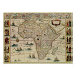 Vintage 1660's Africa Map Print