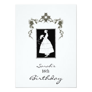 Vintage 16th Birthday Pretty Girl  Black and White Card