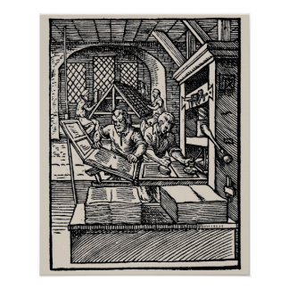 Vintage 16th century letterpress hand press poster