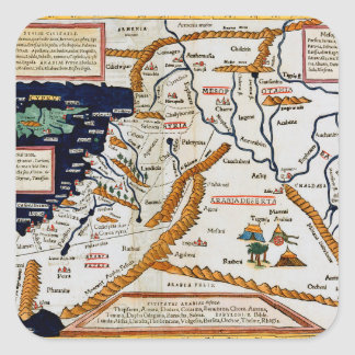Vintage 16th Century Map Of The Middle East Square Stickers