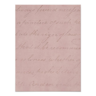 Vintage 1700s Colonial Pink Rose Text Parchment Poster