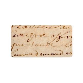 Vintage 1700s French Letters Antique Tan Paper Label