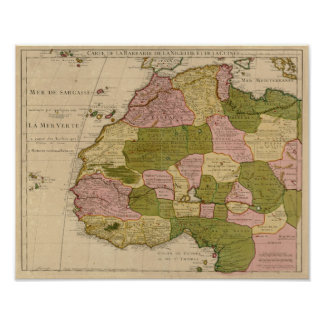 Vintage 1707 North Africa Map Poster