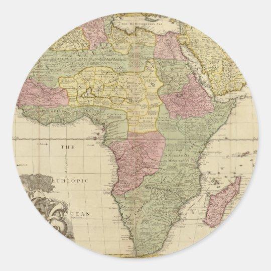 Vintage 1725 Africa Map Classic Round Sticker