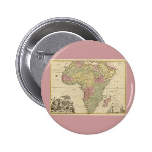 Vintage 1725 Africa Map Pinback Buttons