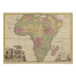 Vintage 1725 Africa Map Poster