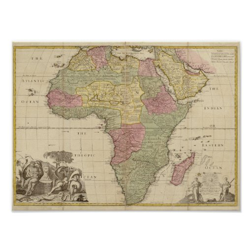 Vintage 1725 Africa Map Poster Zazzlecom