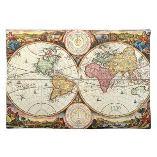 Vintage 1730 World Map Placemat