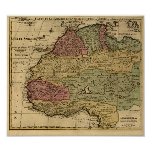Vintage 1742 North Africa Map Posters