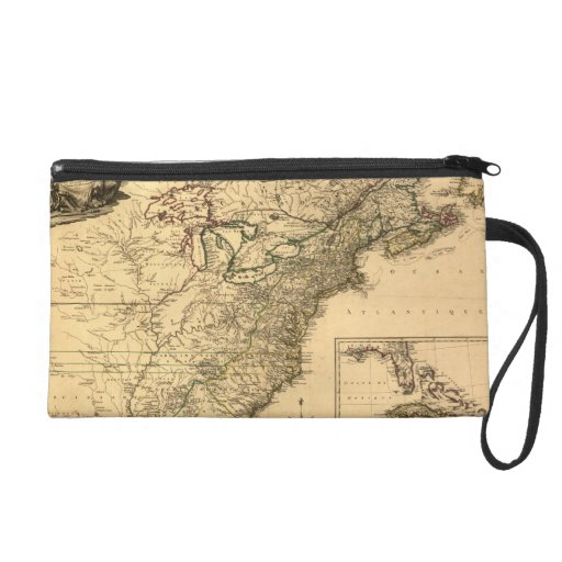 Vintage 1777 American Colonies Map by Phelippeaux Wristlet Clutches