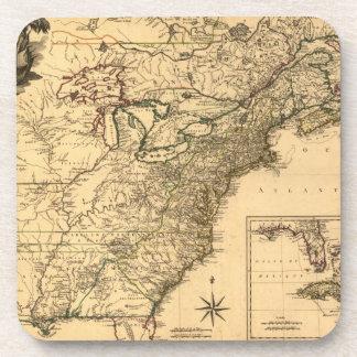 Vintage 1777 American Colonies Map by Phelippeaux Beverage Coaster