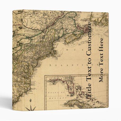 Vintage 1777 American Colonies Map by Phelippeaux 3 Ring Binders