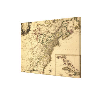 Vintage 1777 American Colonies Map by Phelippeaux Canvas Print