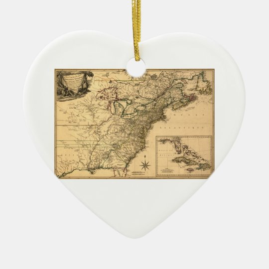 Vintage 1777 American Colonies Map by Phelippeaux Ceramic Ornament