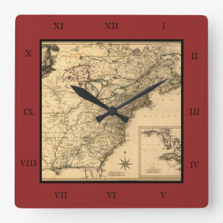 Vintage 1777 American Colonies Map by Phelippeaux Square Wall Clock