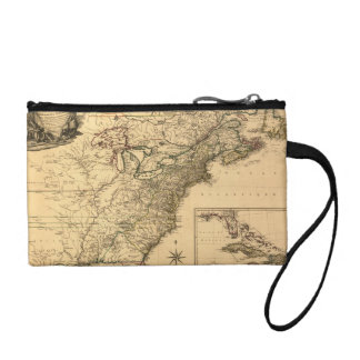 Vintage 1777 American Colonies Map by Phelippeaux Coin Purse