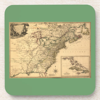 Vintage 1777 American Colonies Map by Phelippeaux Drink Coaster