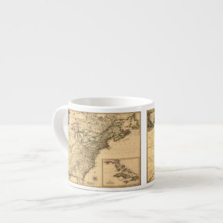 Vintage 1777 American Colonies Map by Phelippeaux Espresso Cup