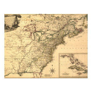 Vintage 1777 American Colonies Map by Phelippeaux Flyer
