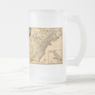 Vintage 1777 American Colonies Map by Phelippeaux Frosted Glass Beer Mug