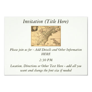 """Vintage 1777 American Colonies Map by Phelippeaux 3.5"""" X 5"""" Invitation Card"""