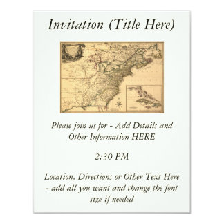 """Vintage 1777 American Colonies Map by Phelippeaux 4.25"""" X 5.5"""" Invitation Card"""