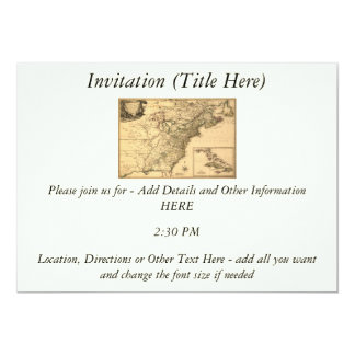 """Vintage 1777 American Colonies Map by Phelippeaux 5"""" X 7"""" Invitation Card"""