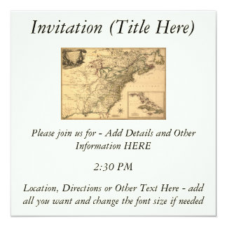 """Vintage 1777 American Colonies Map by Phelippeaux 5.25"""" Square Invitation Card"""