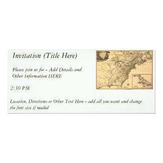 """Vintage 1777 American Colonies Map by Phelippeaux 4"""" X 9.25"""" Invitation Card"""