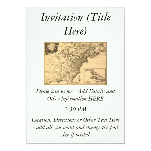 Vintage 1777 American Colonies Map by Phelippeaux 4.5x6.25 Paper Invitation Card