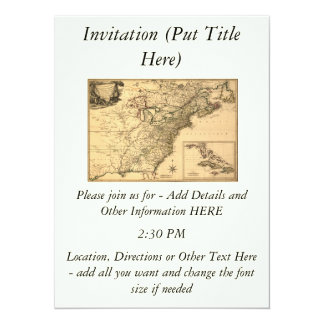 """Vintage 1777 American Colonies Map by Phelippeaux 5.5"""" X 7.5"""" Invitation Card"""