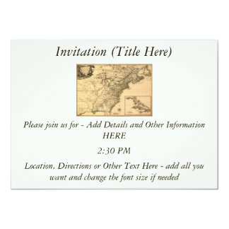 """Vintage 1777 American Colonies Map by Phelippeaux 4.5"""" X 6.25"""" Invitation Card"""