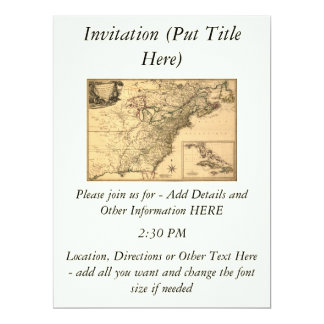 """Vintage 1777 American Colonies Map by Phelippeaux 6.5"""" X 8.75"""" Invitation Card"""