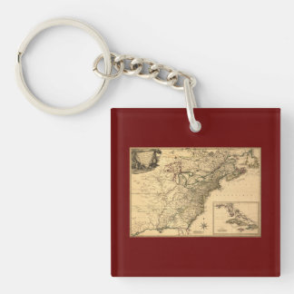 Vintage 1777 American Colonies Map by Phelippeaux Keychain