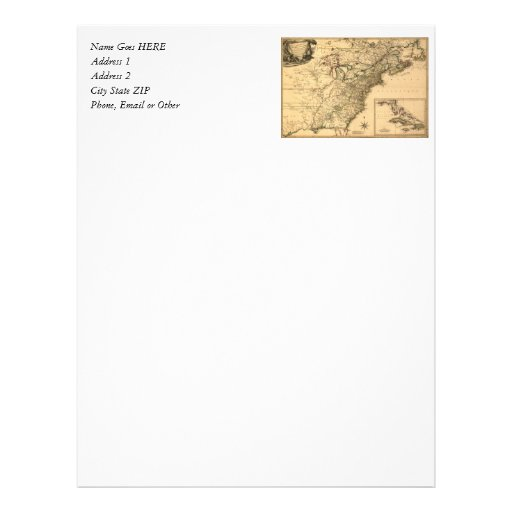 Vintage 1777 American Colonies Map by Phelippeaux Letterhead Template