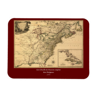 Vintage 1777 American Colonies Map by Phelippeaux Magnet