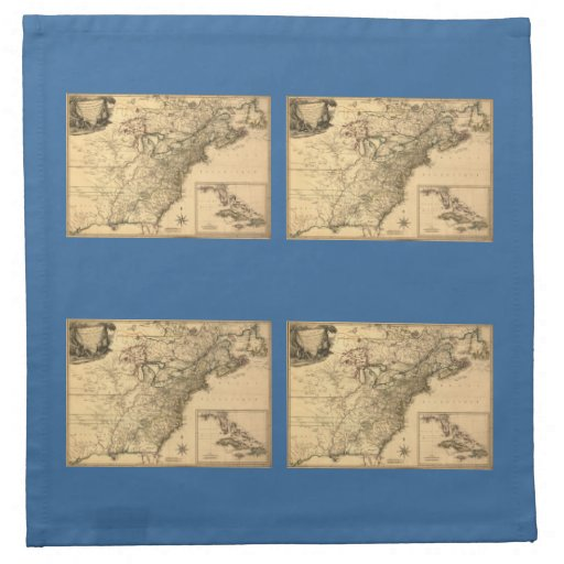 Vintage 1777 American Colonies Map by Phelippeaux Napkins