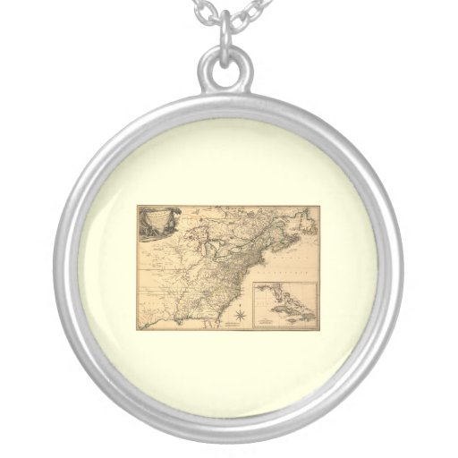 Vintage 1777 American Colonies Map by Phelippeaux Necklaces