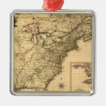 Vintage 1777 American Colonies Map by Phelippeaux Square Metal Christmas Ornament
