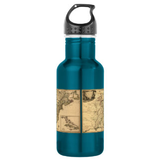 Vintage 1777 American Colonies Map by Phelippeaux 18oz Water Bottle