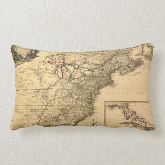 Vintage 1777 American Colonies Map by Phelippeaux Throw Pillow