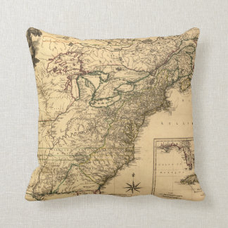 Vintage 1777 American Colonies Map by Phelippeaux Throw Pillows