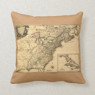 Vintage 1777 American Colonies Map by Phelippeaux Pillow