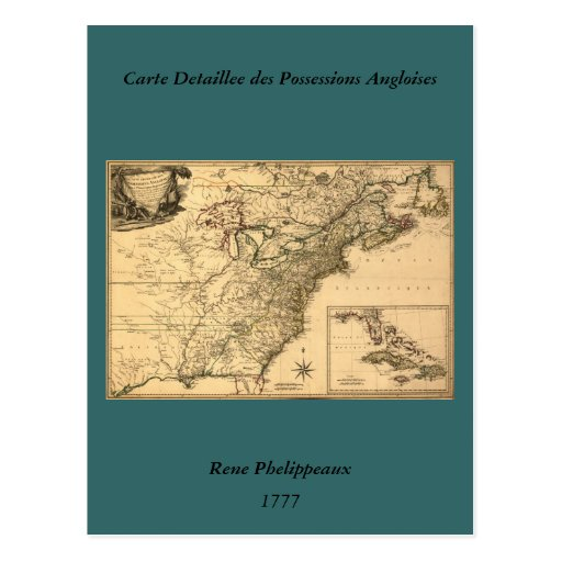 Vintage 1777 American Colonies Map by Phelippeaux Post Card