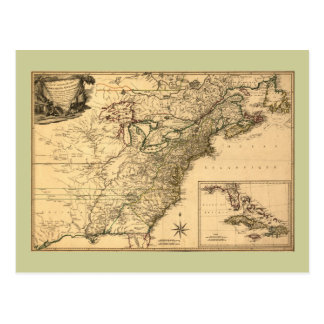 Vintage 1777 American Colonies Map by Phelippeaux Postcard